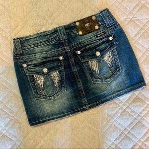 🦋 Miss Me Jean Mini Skirt, Size 27, Angel Wings